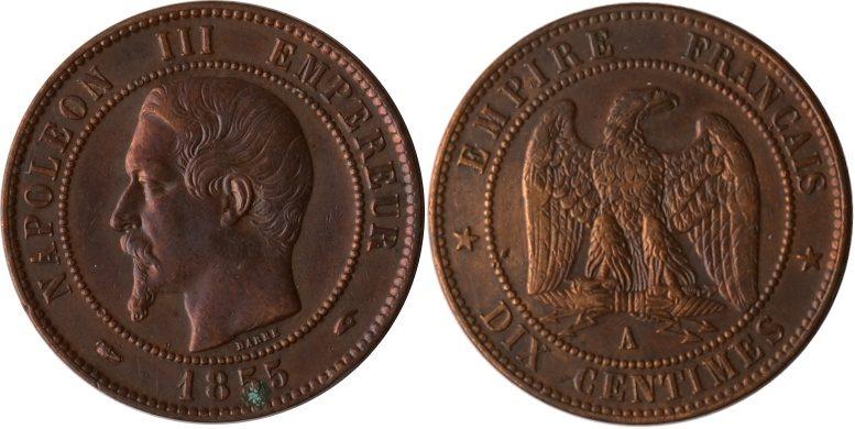 10 Centimes 1855 A Frankreich Frankreich, 10 Centimes, Napoleon III., 1855 A, ss/vz ss/vz