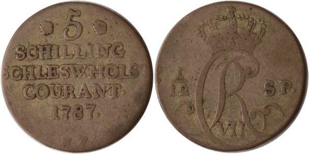 5 Schilling 1787 Schleswig-Holstein Schleswig-Holstein, 5 Schilling, Christian VII., 1787, ss ss