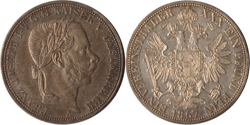 Taler 1867 A Österreich, Haus Habsburg Habsburg, 1 Taler, Franz Josef I., 1867 A, vz/st vz/st