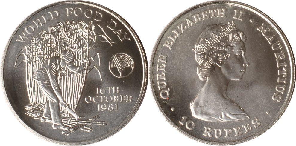 10 Rupees 1981 Mauritius Mauritius, 10 Rupees, Zuckerrohrernte, 1981, st st
