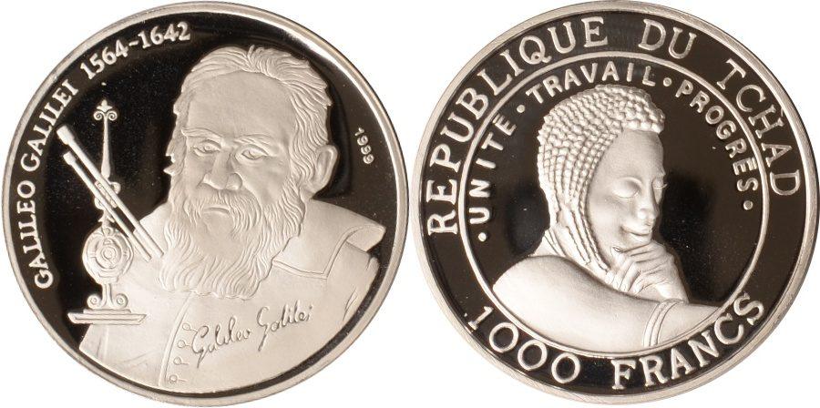 1000 Francs 1999 Tschad Tschad, 1000 Francs, Galileo Galilei, 19999, PP PP