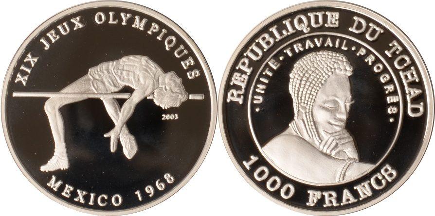 1000 Francs 2003 Tschad Tschad, 1000 Francs, Hochsprung Olympiade 1968, 2003, PP PP