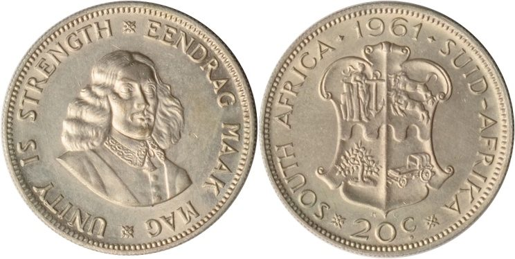 20 Cents 19961 Südafrika Südafrika, 20 Cents, Jan van Riebeeck, 1961, fast st fast st