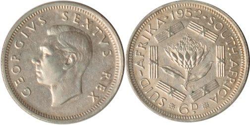 6 Pence 1952 Südafrika Südafrika, 6 Pence, 1952, vz/st vz/st