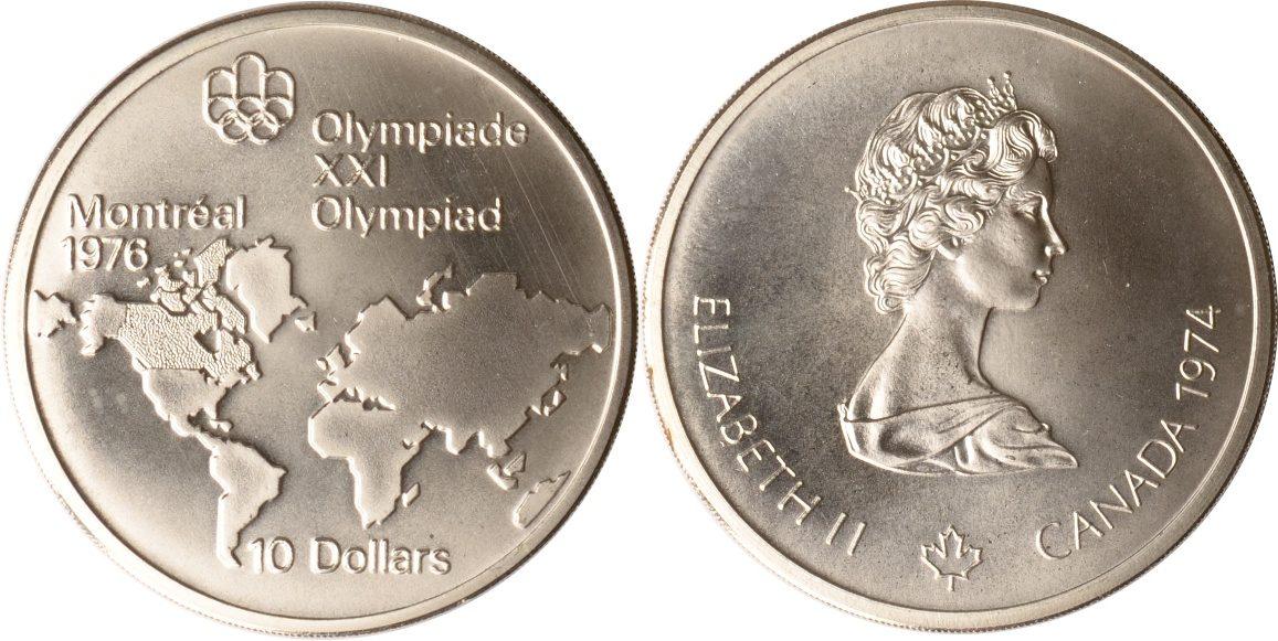 10 Dollars 1974 Kanada Kanada, 10 Dollars, Olympiade Montreal, 1974, st, sehr seltener Jahrgang! st