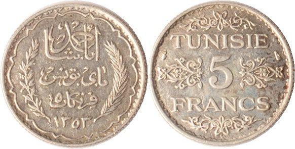 5 Francs A.H.1353 (1934) Tunesien Tunesien, 5 Francs, A.H. 1353 (1934), Arabische Inschrift mit Zweigen, vz+ vz+