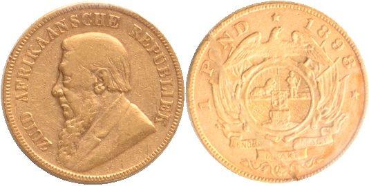 1 Pond 1898 Süd Afrika Süd Aafrika, 1 Pond, 1898, ss+ ss+