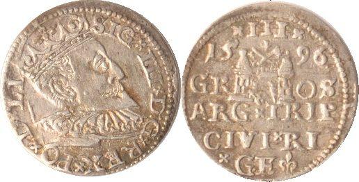 3 Gröscher 1596 Polen-Riga Polen-Riga, 3 Gröscher, 1596, Sigismund III., ss/vz ss/vz