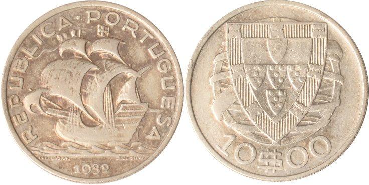 10 Escudo 1932 Portugal Portugal, 10 Escudo, 1932, Segelschiff, ss/vz ss/vz