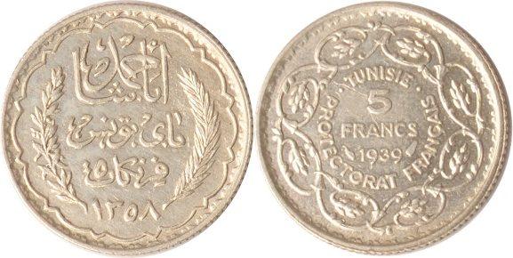5 Francs A.H.1358 (1939) Tunesien Tunesien, 5 Francs, A.H. 1358 (1939), vz+ vz+