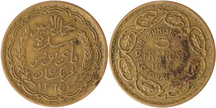 5 Francs A.H.1365 (1946) Tunesien Tunesien, 5 Francs, A.H. 1365 (1946), ss/vz ss/vz