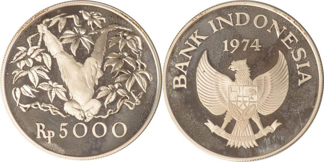 5000 Rupiah 1974 Indonesien Indonesien, 5000 Rupiah, Orangutan, 1974, PP PP