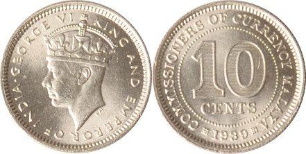 10 Cents 1939 Malaysia Malaysia, 10 Cents, George VI., 1939, st st