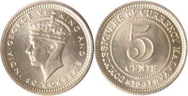 5 Cents 1941 Malaysia Malysia, 5 Cents, George VI., 1941, st EA st EA