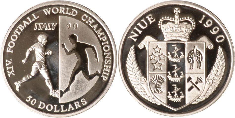50 Dollars 1990 Niue Niue, 50 Dollars, Zwei Fussballer am Ball, 1990, PP PP