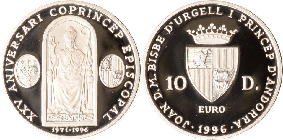 20 Diners 1996 Andorra Andorra, 10 Diners, Bischof Joan Marti i Alanis, 1996, PP PP