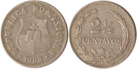 2 1/2 Centavos 1888 Dominikanische Republik Dominikanische Republik, 2 1/2 Centavos, 1888, ss/vz ss/vz