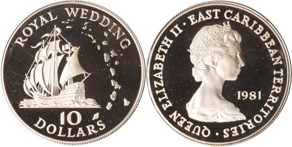 10 Dolalrs 1981 Ostkaribische Staaten Ostkaribische Staaten, 10 Dollars, Royal Wedding, Golden Hind, 1981, PP PP