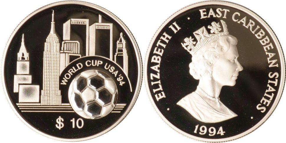 10 Dollars 1994 Ostkaribische Staaten Ostkaribische Staaten, 10 Dollars, Fußball-WM 1994 in den USA, 1994, PP PP