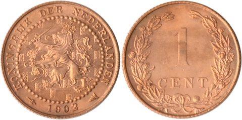 1 Cent 1902 Niederlande Niederlande, 1 Cent, Wappenlöwe, 1902, st st