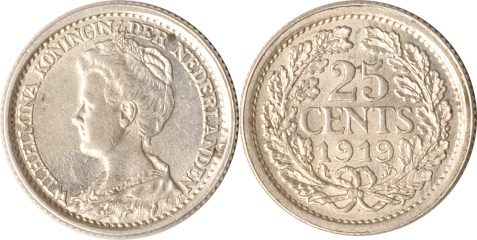 25 Cents 1919 Niederlande Niederlande, 25 Cent, Wilhelmina, 1919, vz/st vz/st