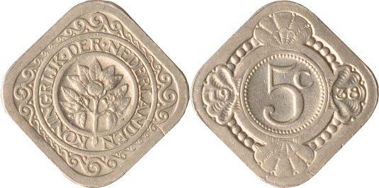 5 Cents 1938 Niederlande Niederlande, 5 Cents, Orangenzweig, 1938, vz/st vz/st