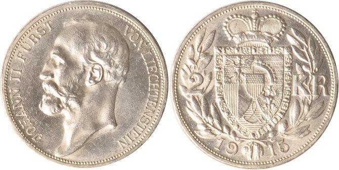 2 Kronen 1915 Liechtenstein Liechtenstein, 2 Kronen, Johann II., 1915, vz+ vz+