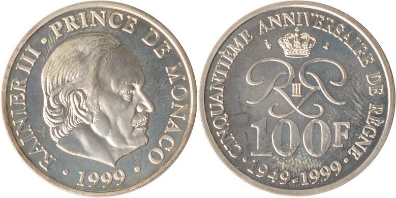 100 Francs 1999 Monaco Monaco, 100 Francs, Rainier III., 1999, st st