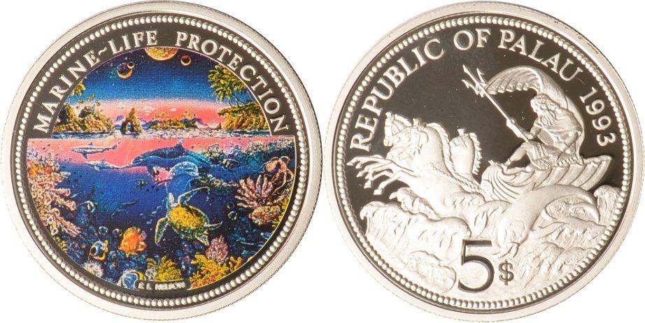 5 Dollars 1993 Palau Palau, 5 Dollars, Neptun und Delfin, 1993, PP PP