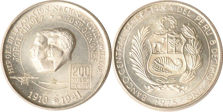 200 Soles de Oro 1975 Peru Peru, 200 Soles de Oro, Jorge Chavez und Jose Quinones, 1975, st st