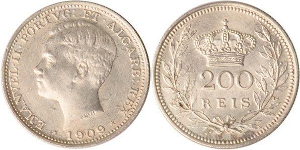200 Reis 1909 Portugal Portugal, 200 Reis, Emanuel II., 1909, vz vz