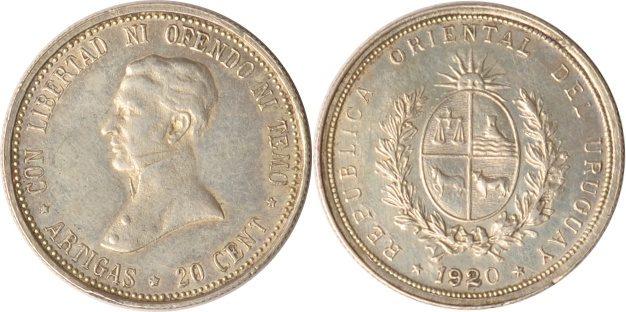 20 Centesimos 1920 Uruguay Uruguay, 20 Centesimos, José Gervasio Artigas, 1920, vz vz