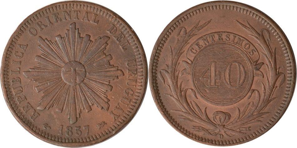 40 Centesimos 1857 D Uruguay Uruguay, 40 Centesimos, Strahlenbündel, 1857 D, fast st fast st