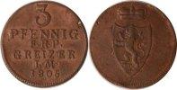 Reuss, ältere Linie zu Obergreiz 3 Pfennig Reuss-Obergreiz, 3 Pfennig, Heinrich XIII., 1805, vz+