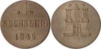 Hamburg Sechsling, 6 Pfennig Hamburg, Sechsling, 1846, vz