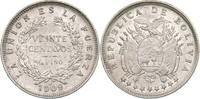 Bolivien 20 Centavos Bolivien, 20 Centavos, 1909, vz/st