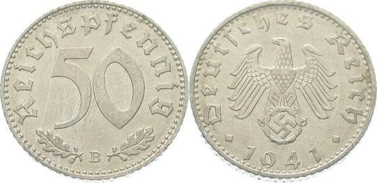 50 Pfennig 1941 B Drittes Reich Winz. Kratzer, fast Stempelglanz