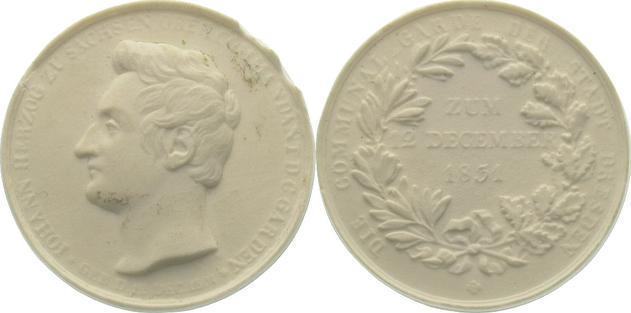 Johann von Sachsen 1831 Meißner Porzellanmedaillen Dresden. Kl. Randfehler, vorzüglich