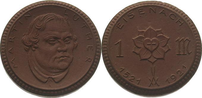 1 Mark 1921 Reichsmünzen und Ausgaben der Städte Eisenach Prägefrisch