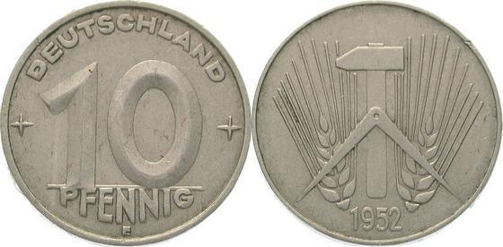 10 Pfennig 1952 E Deutsche Demokratische Republik Vorzüglich