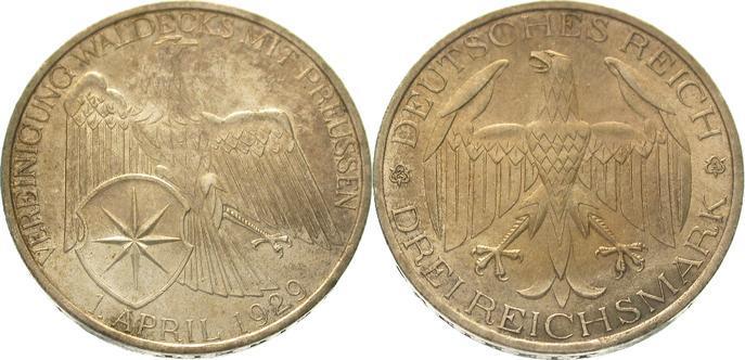 3 Mark 1929 A Weimarer Republik Schöne Patina. Vorzüglich - Stempelglanz