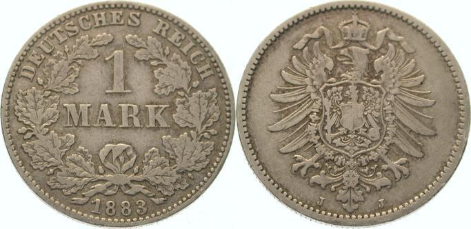 1 Mark 1883 J Kleinmünzen Fast sehr schön