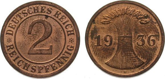 2 Pfennig 1936 D Weimarer Republik Vorzüglich - Stempelglanz