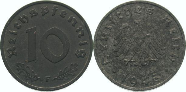 10 Pfennig 1945 F Alliierte Besetzung Zaponiert, vorzüglich