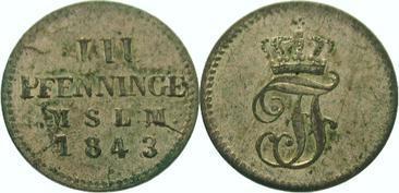 3 Pfennig 1843 Mecklenburg-Schwerin Friedrich Franz II. 1842-1883. Vorzüglich +