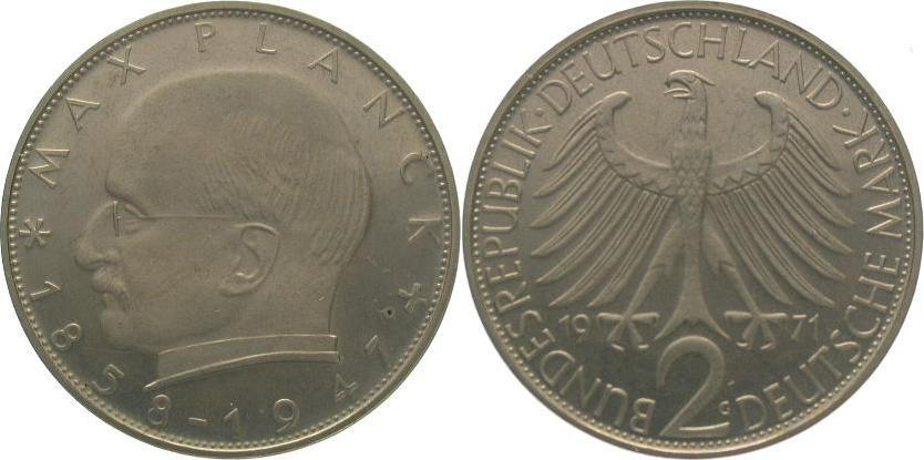 2 Mark 1971 G Bundesrepublik Deutschland Polierte Platte. Fast Stempelglanz