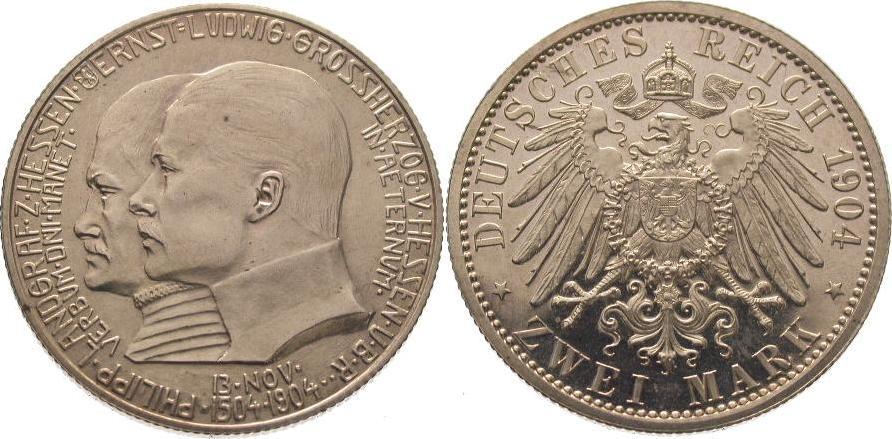 2 Mark 1904 Hessen Ernst Ludwig 1892-1918. Polierte Platte, Vorderseite matt. Winz. Kratzer, fast Stempelglanz