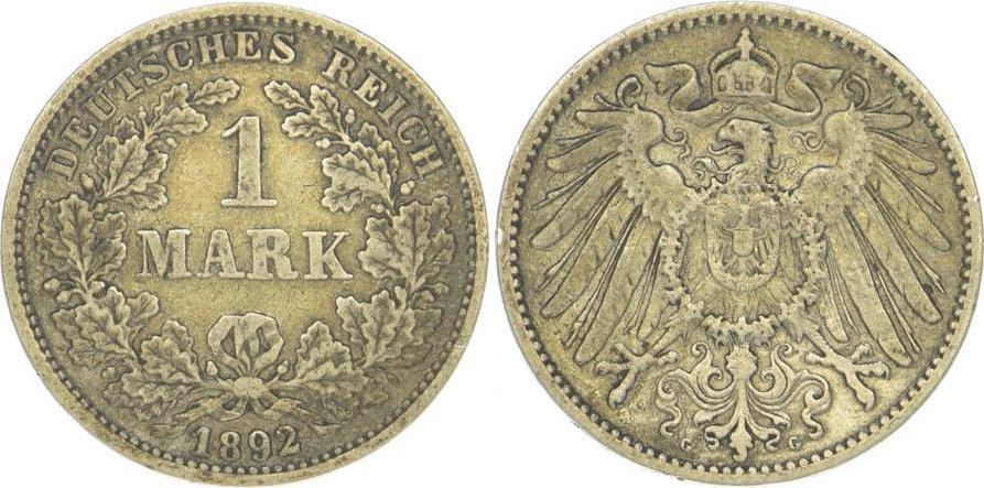 1 Mark 1892 G Kleinmünzen Sehr schön +