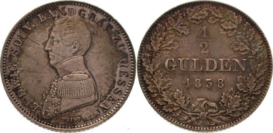 1/2 Gulden 1838 Hessen-Homburg Ludwig 1829-1839. Schöne Patina. Vorzüglich