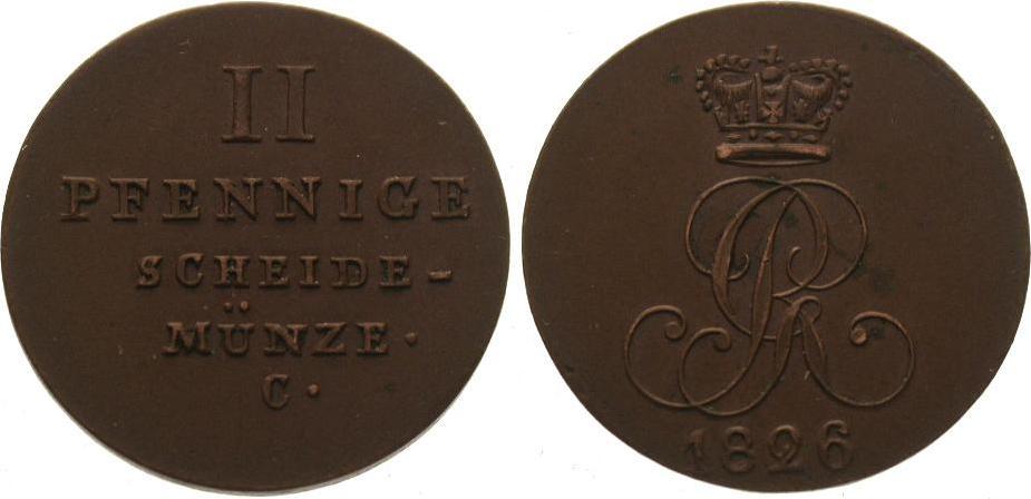Cu 2 Pfennig 1826 C Braunschweig-Calenberg-Hannover Georg IV. 1820-1830. Vorzüglich